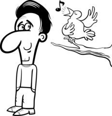 man and bird cartoon coloring book