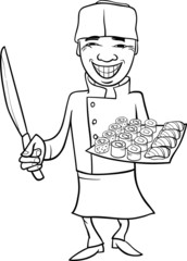 japan sushi chef cartoon coloring page