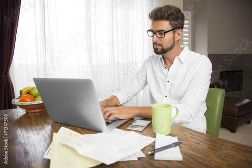 Male studying at home - 71247500