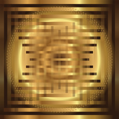 Abstract grid circle golden background