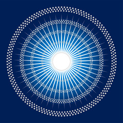 Abstract rays Circles mosaic Vector blue Background