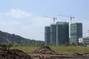 Timber yard beside construction site