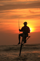 Silhouette of a stick fisherman at sunset, Unawatuna, Sri Lanka