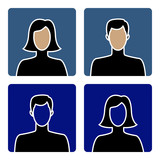 Faceless male and female avatar icons, flat design
