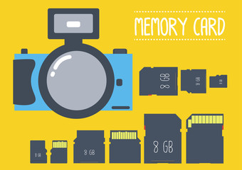 type of memeory card with camera in flat design
