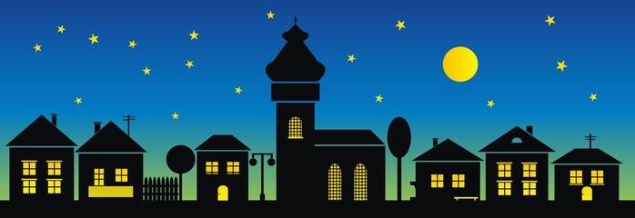 town, night