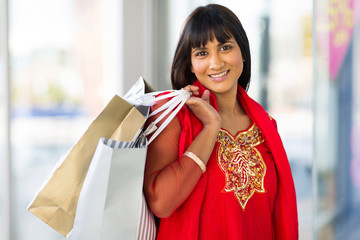 indian woman shopping in mall