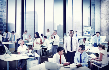Multiethnic Group of People Working in the Office