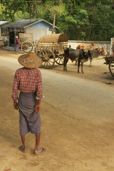 Local man standing in the street, Mingun, Myanmar