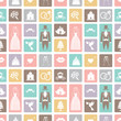 canvas print picture - Wedding flat  icons in seamless pattern