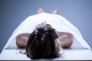 Dead woman in the morgue