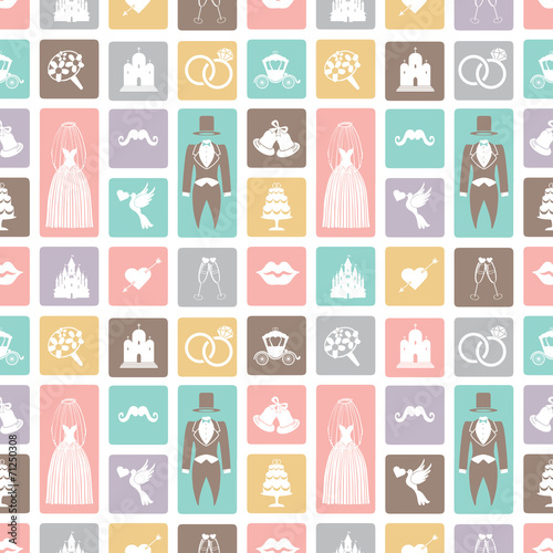 canvas print picture Wedding flat  icons in seamless pattern