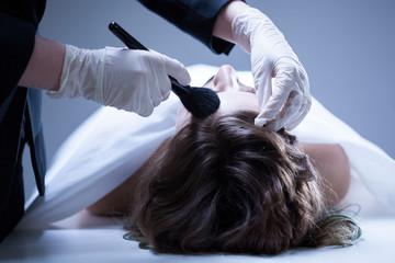 Corpse preparing before funeral