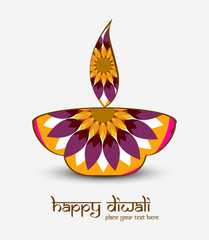 Beautiful diwali card artistic diya colorful vector