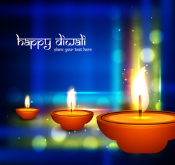 Beautiful shiny diya happy diwali festival greeting card colorfu