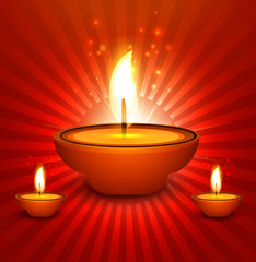 Religious colorful design for diwali shiny diya festival with be