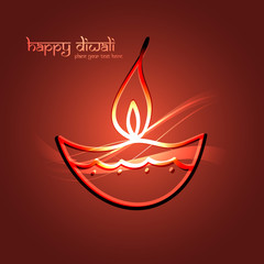 Beautiful happy diwali for colorful celebration hindu festival v
