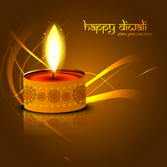 Happy diwali beautiful diya glowing celebration background illus