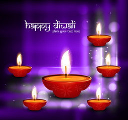 Beautiful happy diwali shiny diya bright colorful celebration hi