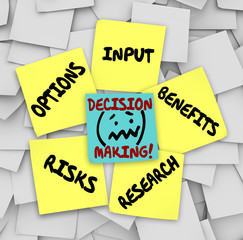 Decision Making Sticky Notes Input Options Risks Benefits Resear