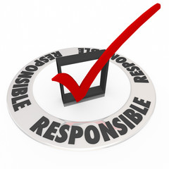 Responsible Word Around Check Mark Box Accountable