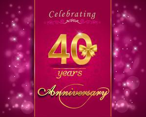 40th anniversary celebration sparkling card