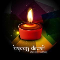 Beautiful Diwali diya Vector colorful background