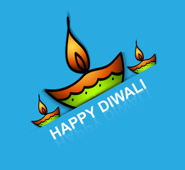 Beautiful Diwali diya art creative colorful background vector