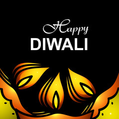 Happy Diwali card for artistic diya black background illustratio
