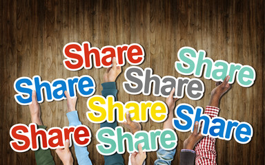 Group of Hands Holding the Word Share