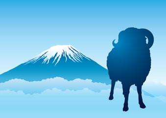 富士山 羊 ヨコ 青 シルエット