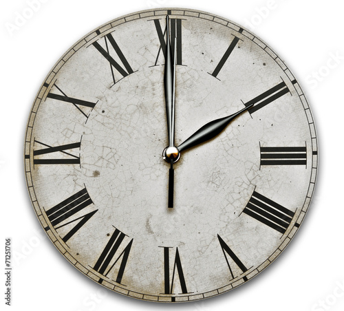 Old Clock Isolated on white . old vintage clock face - 71251706