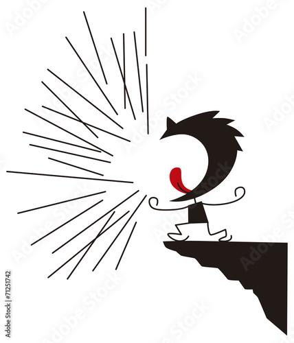 ストレス発散で大声を出す男性 © poosan