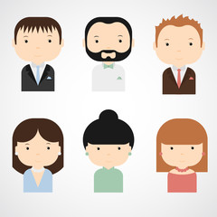 Set of colorful elegant successful people icons. Men and women