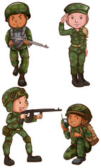 Simple sketches of a soldier