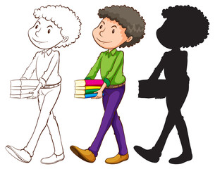 A sketch of a teacher in three colours