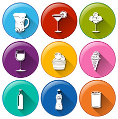 Round icons with the different refreshing drinks