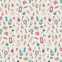Cosmetics and beauty products icons. Vintage seamless patterns