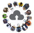 Multiethnic People Using Digital Devices with Cloud Symbol