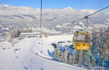 Cabin ski lift.  Ski resort Schladming . Austria