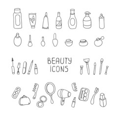 Set of vintage cosmetics elements and beauty products icons.