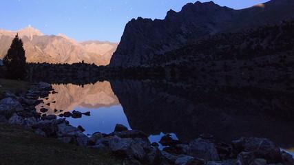 Moonlight over a lake. Time Lapse. Pamir, Tajikistan