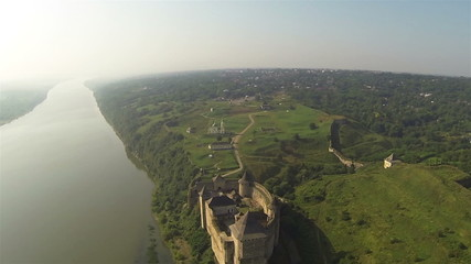 Landscape with river and old fortress from height. Aerial