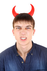 Teenager with Devil Horns