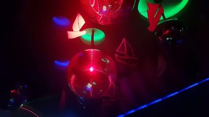 Scenery and lighting equipment working in a nightclub