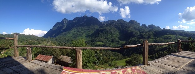 Panoramic view of mountain with blue sky in Chiangmai, Thailand