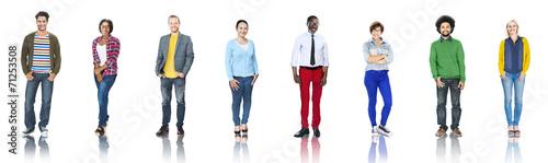 Leinwanddruck Bild Group of People Standing in a Row