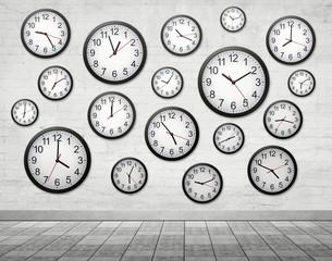 Many Clocks on wall