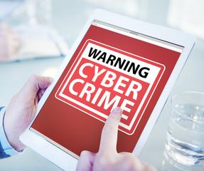 Hands Holding Digital Tablet Cyber Crime