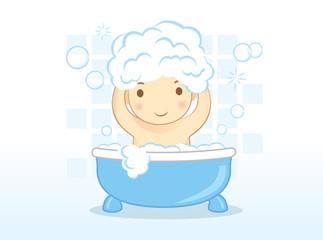 Baby washes hair with shampoo on bathtub in bathroom.